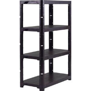 (プラスチック棚)トラスコ プラ棚 高さ1371−4段タイプ コーナーキャップ4個付 黒  TPT-5344C-BK|unoonline