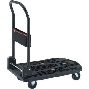 (樹脂製 運搬車 台車)トラスコ カルティオ 折畳 780X490 黒 布製ポケット付  MPK-720-NBK|unoonline