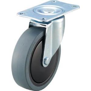 (消音キャスター 車輪)トラスコ 樹脂台車カルティオ用省音キャスター Φ100エラストマー車 自在 TYSFHG100SEL