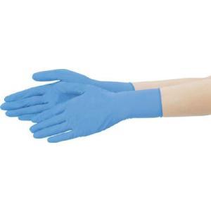 (使い捨て手袋 使い切り手袋)テイジン ニトリル手袋 粉付 青 M  NBR-P10BM|unoonline