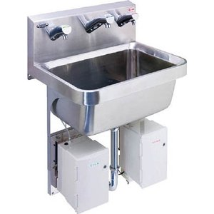 【特長】センサー感知で、液状石けん液・給水・消毒剤を自動供給するので、手を触れずに洗浄・消毒が可能で...