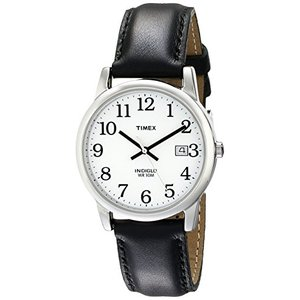 タイメックス   Timex Men's T2H281 Easy Reader 35mm Black Leather Strap Watch 海外モデル|unrosage-ystore