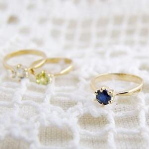 ベビーリング 出産祝い 刻印 18金 シンプル 誕生石 宝石箱セット(チェーン付)