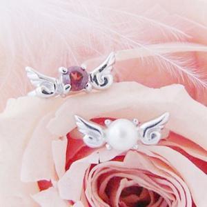 ベビーリング 出産祝い 刻印 天使の翼 宝石箱セット(チェーン付)