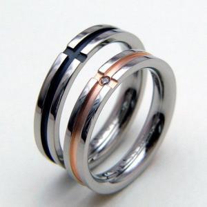 ペアリング ステンレス クロスラインダイヤモンドペアリング|unseul