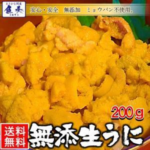 うに 雲丹  冷凍生うに 無添加 200g(100g×2P)ミョウバン不使用 ウニ 送料無料 安心・安全 うに丼4杯分 寿司 北海丼|uosou