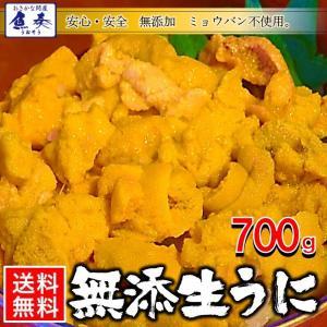 うに 雲丹  冷凍生うに 無添加 700g(100g×7P)ミョウバン不使用 ウニ 送料無料 安心・安全 うに丼14杯分 寿司 北海丼|uosou