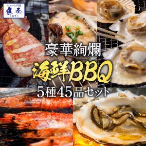 BBQ バーベキューセット 赤エビ 10尾 大あさり10枚 帆立10枚 ブランド牡蠣10枚 真イカ一夜干し10枚 BBQ 送料無料|uosou