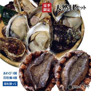 日本海産 天然貝セットA《岩牡蠣4個〈割って〉・ あわび1個》 魚介セット/貝類/お中元/ギフト|uoya