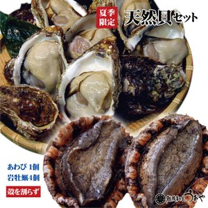 日本海産 天然貝セットA《岩牡蠣4個〈割らずに〉・ あわび1個》 魚介セット/貝類/お中元/ギフト|uoya