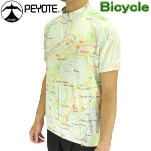 PEYOTE サイクルウェア サイクルジャージ 半袖シャツ マッププリント 自転車 PT6S-03SJ|up-athlete