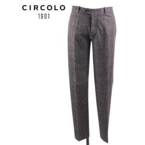 CIRCOLO 1901 チルコロ1901 ノータック スラックス パンツ ジャージー デニムプリント シンプル 国内正規品 0204-281215 ブラック up-avanti