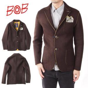 BOB ボブ 2B シングル テーラードジャケット  ボンディング チーフ付 072701123-35 ブラウン 国内正規品|up-avanti