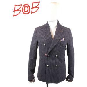 BOB COMPANY ボブカンパニー 6Bダブルジャケット ダブルブレステッド ストライプ ウール ピークドラペル 072-791118 BLACK ブラック 国内正規品|up-avanti