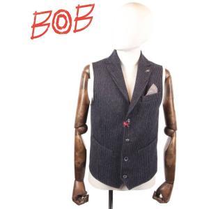 BOB COMPANY ボブカンパニー 4Bジレ・ベスト ラペル付き ウール ストライプ 072-791206 BLACK ブラック 国内正規品|up-avanti