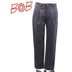 BOB COMPANY ボブカンパニー タック入り ウールスラックス ストライプ 072-791418 BLACK ブラック 国内正規品|up-avanti