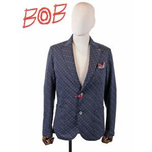 【国内正規品】 BOB COMPANY ボブカンパニー 2B シングルテーラードジャケット ブロックチェック柄 072703125-0084 ネイビー|up-avanti