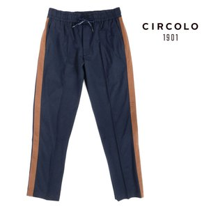 CIRCOLO 1901 チルコロ コットン ジャージー トラックパンツ ライン入 1104-310862 ネイビー 国内正規品|up-avanti