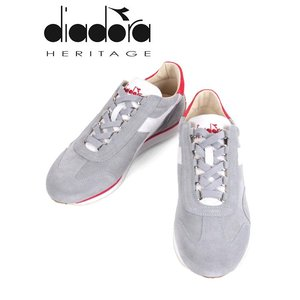 diadora HERITAGE ディアドラヘリテージ EQUIPE KIDSKIN レザースニーカー グレー×レッド×ホワイト 171902B 国内正規品|up-avanti