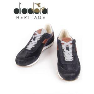 diadora HERITAGR ディアドラヘリテージ EQUIPE ITALIA レザースニーカー スエード ネイビー×ブラウン 175141-0065b 国内正規品|up-avanti