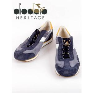 diadora HERITAGR ディアドラヘリテージ EQUIPE ITALIA レザースニーカー スエード ネイビー×イエロー 175150-7171 国内正規品|up-avanti