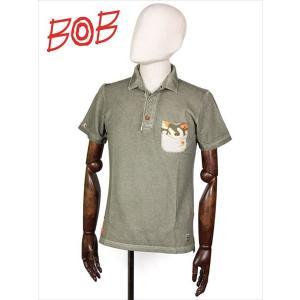 BOB COMPANY ボブカンパニー 半袖ポロシャツ 鹿の子 ウォッシュド加工 迷彩柄 カーキ RICKY ジャージ 206-34427-542 国内正規品|up-avanti