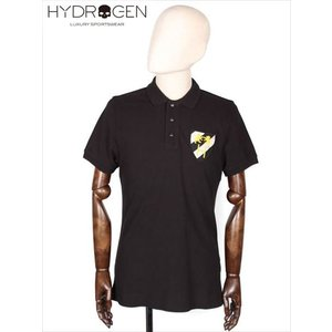 HYDROGEN ハイドロゲン 鹿の子ポロシャツ 胸ワッペン ブラック 半袖 スナップボタン CREST POLO 210-30740013 国内正規品|up-avanti