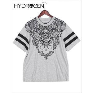 HYDROGEN ハイドロゲン スカルタトゥー プリントTシャツ カットソー グレー 210-46541001 メンズ 国内正規品|up-avanti