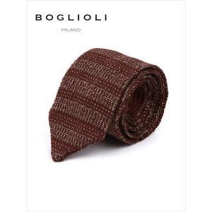 BOGLIOLI ボリオリ シルク ニットタイ ネクタイ 221-38903-390 ブラウン イタリア製 国内正規品 up-avanti