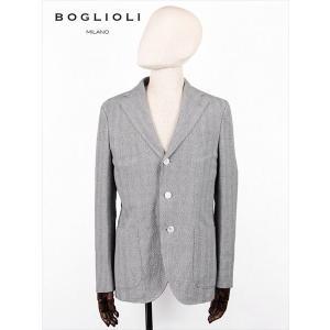 BOGLIOLI ボリオリ グレンチェック柄 3B シングルテーラード ジャケット グレー 222-11758 イタリア製 コットン 麻 国内正規品 up-avanti