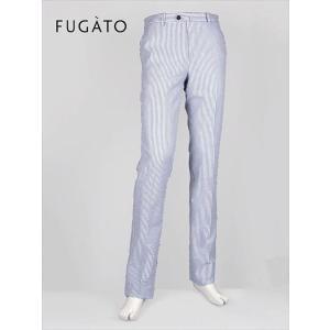 FUGATO フガート ノータック スラックス シアサッカー ストライプ ホワイト×ブルー 243-31522 イタリア製 国内正規品 up-avanti