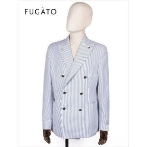 FUGATO フガート 6B ダブルブレスト テーラードジャケット シアサッカー ホワイト×ブルー 243-31724 イタリア製 てんとう虫 国内正規品 up-avanti