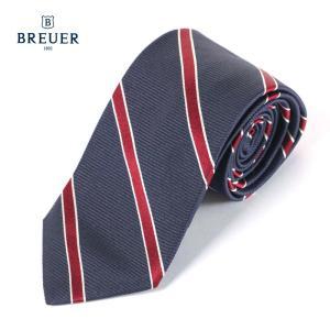 BREUER ブリューワー シルク ネクタイ ストライプ レジメンタルストライプ イタリア製 267-28013 ネイビー×レッド 国内正規品|up-avanti