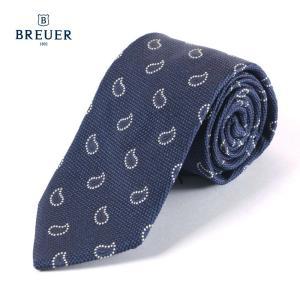 BREUER ブリューワー シルク ネクタイ ペイズリー柄 イタリア製 267-28051 ネイビー 国内正規品|up-avanti