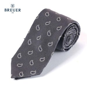 BREUER ブリューワー シルク ネクタイ ペイズリー柄 イタリア製 267-28051 グレー 国内正規品|up-avanti