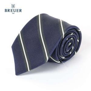 BREUER ブリューワー シルク混 ネクタイ ストライプ レジメンタルストライプ イタリア製 267-28082 ネイビー 国内正規品|up-avanti
