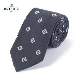 BREUER ブリューワー シルク混 ネクタイ ひし形 ダイヤ柄 イタリア製 267-88021 ネイビー 国内正規品|up-avanti