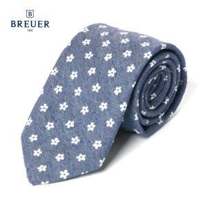 BREUER ブリューワー シルク混 ネクタイ 花柄 277-18978 ネイビー イタリア製 国内正規品|up-avanti