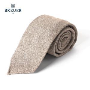 BREUER ブリューワー シルク混 ネクタイ 無地 イタリア製 277-19971 ベージュ 国内正規品|up-avanti