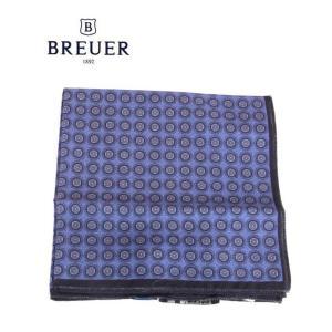 BREUER ブリューワー ポケットチーフ 小紋柄 イタリア製 277-29800 ブルー 国内正規品|up-avanti