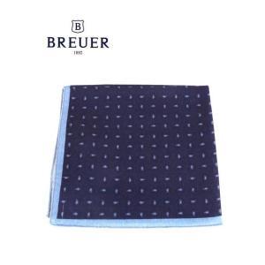 BREUER ブリューワー ポケットチーフ ペイズリー柄 イタリア製 277-29801 ネイビー 国内正規品|up-avanti