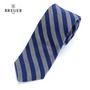 BREUER ブリューワー シルク混 ネクタイ ストライプ レジメンタルストライプ イタリア製 277-59942 ブルー 国内正規品|up-avanti