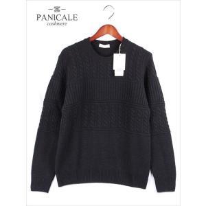 PANICALE パニカーレ ケーブル編み クルーネックニットセーター ブラック 7P871G 国内正規品|up-avanti