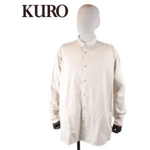 【国内正規品】KURO クロ BAND COLLAR DENIM BIG SHIRT バンドカラー ビッグシルエット 8oz デニムシャツ 962996 オフホワイト up-avanti