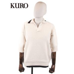 【国内正規品】KURO クロ 7G KNIT POLO SHIRT 7ゲージニット 鹿の子 ポロシャツ スキッパー ビッグシルエット 963020 オフホワイト up-avanti