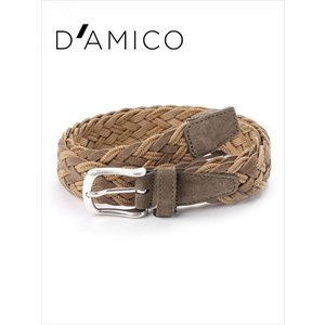 Andrea D'AMICO アンドレアダミコ INT-HONOLULU レザー×コットン スエードメッシュベルト 132 カーキ / ACU2517 DAMICO 国内正規品|up-avanti