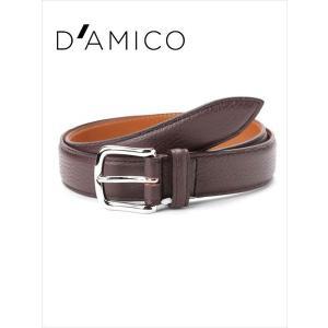 Andrea D'AMICO アンドレアダミコ STAMPA ALCE レザーベルト シボ革 497 ダークブラウン / ACUB011 DAMICO 国内正規品|up-avanti