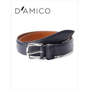 Andrea D'AMICO アンドレアダミコ STAMPA ALCE レザーベルト シボ革 538 ネイビー / ACUB011 DAMICO 国内正規品|up-avanti