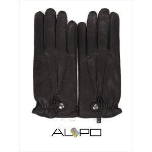 ALPO アルポ レザーグローブ ブラック 鹿革 シボ革 揉み革 手袋 メンズ AP182UA CERVO239 NERO 国内正規品|up-avanti