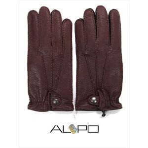 ALPO アルポ レザーグローブ ダークブラウン 鹿革 シボ革 揉み革 手袋 メンズ AP182UA CERVO239 TAN 国内正規品|up-avanti